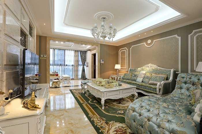 欧式100平米两室一厅家庭客厅装修效果图